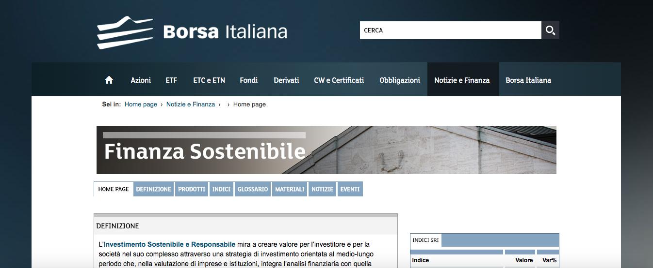 Sezione finanza sostenibile del sito web di borsa italiana for Sito web per la progettazione di mobili